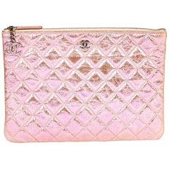 Chanel Pink Iridescent Metallic Clutch