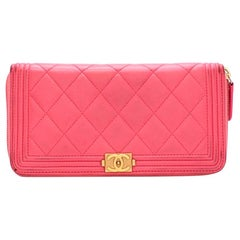 Chanel Pink Lambskin Boy Long Zipped Wallet
