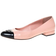 Chanel Pink Leather And Black Patent Leather CC Cap Toe Ballet Flats Size 39.5