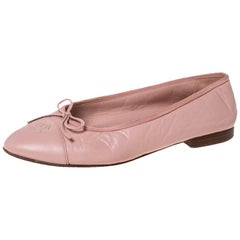 Chanel Pink Leather And Grosgrain Trim CC Bow Ballet Flats Size 40