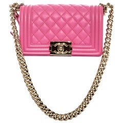 Chanel mini pink leather Boy Bag with gold hardware, cross body flap bag