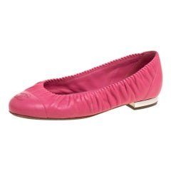 Chanel Pink Leather CC Cap Toe Ballet Flats Size 36.5