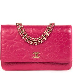 Chanel Pink Leather Floral Wallet On Chain