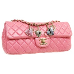 Chanel Pink Leather Gold Heart Charms Medium Evening Shoulder Flap Bag in Box
