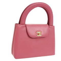 Chanel Pink Leather Top Handle Satchel Kelly Style Small Party Evening Bag