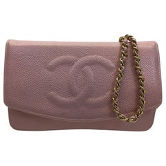 Chanel Pink Leather Wallet on Chain Crossbody