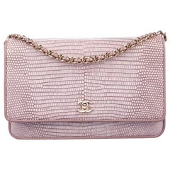 Chanel Pink Lizard Exotic Gold WOC Wallet on Chain Evening Shoulder Flap Bag