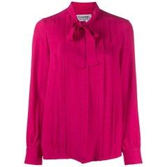 Chanel Pink Logo Silk Shirt Pussy Bow Tie