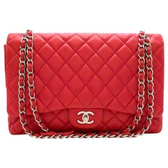Chanel Pink Maxi Classic Single Flap Bag 33cm