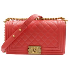 Chanel Pink Medium Caviar Calf Skin Gold Tone Hardware  Quilted Boy Bag A67086