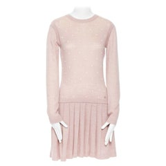 CHANEL pink mohair cashmere pearl embellished skater knitted dress IT40 S