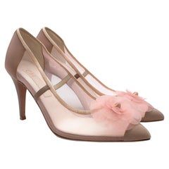 Chanel Pink/Nude Mesh Camellia Pumps - Size 38.5