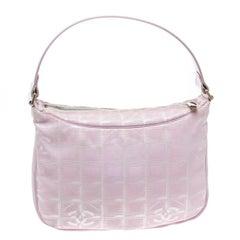 Chanel Pink Nylon Travel Line Hobo