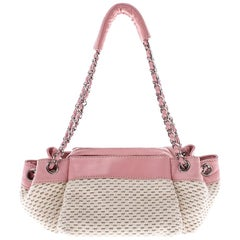 Chanel Pink/Off White Fabric and Leather LAX Accordion Satchel