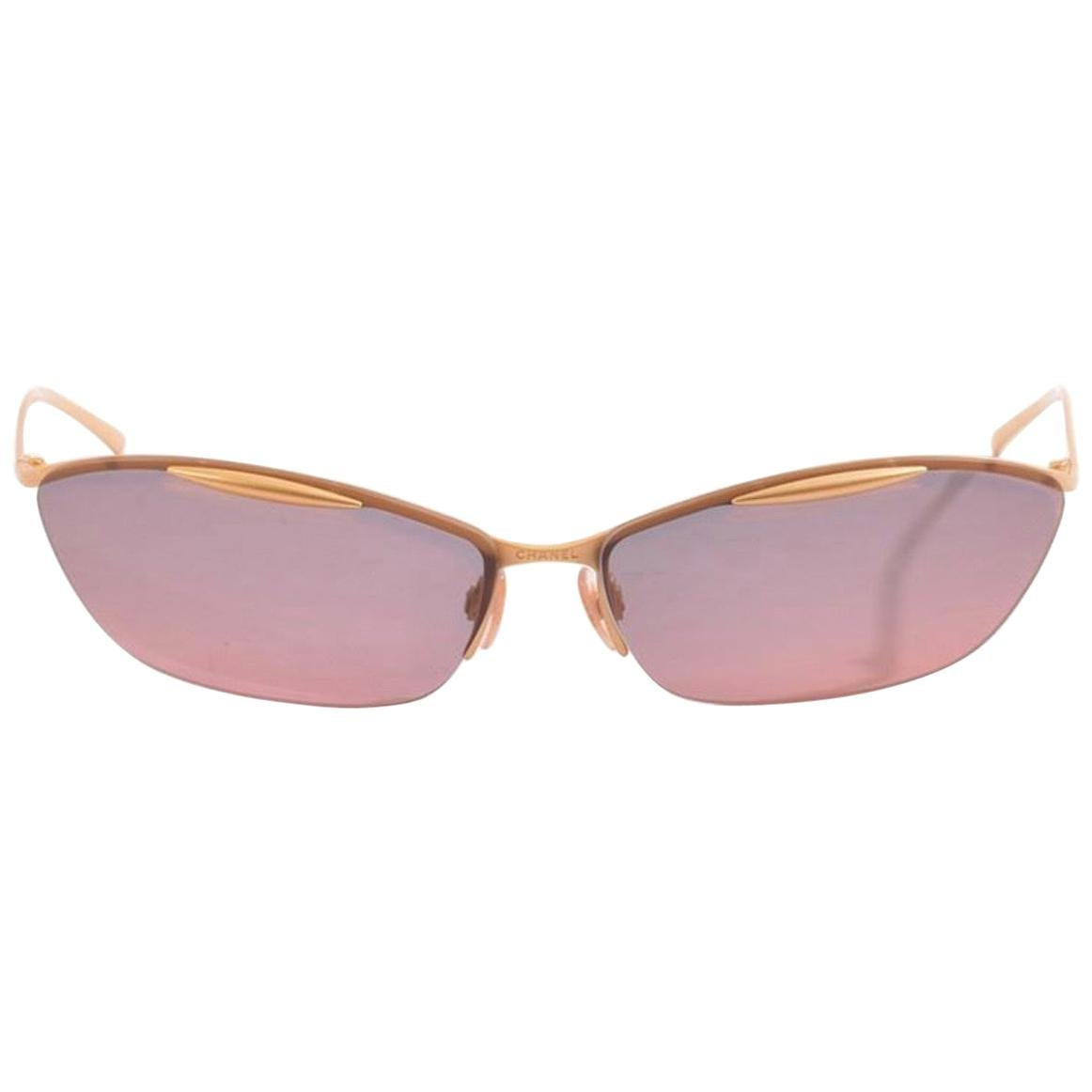 Chanel Pink Ombre Tinted Gold Rimless Kylie Sunglasses