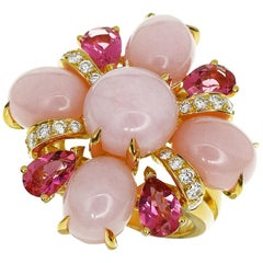 Chanel Pink Opal Pink Tourmaline Diamond 18 Karat Yellow Gold Baroque Ring, US 6