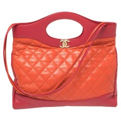 Chanel Pink/Orange Quilted Leather Medium 31 Shopper Tote