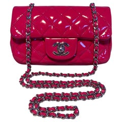 Chanel Pink Patent Leather Extra Mini Classic Flap