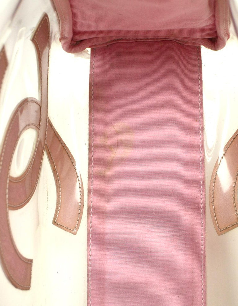Chanel Pink Patent PVC CC Logo Tote Bag w/ Insert For Sale 8
