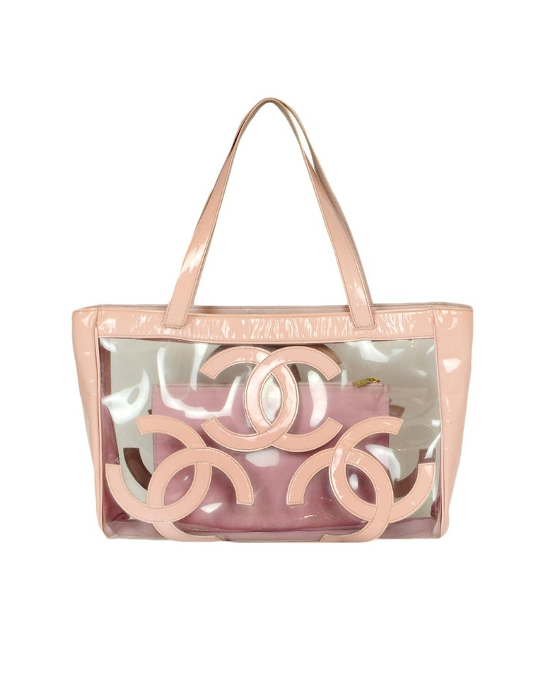Chanel Pink Patent PVC CC Logo Tote Bag w/ Insert In Good Condition For Sale In New York, NY
