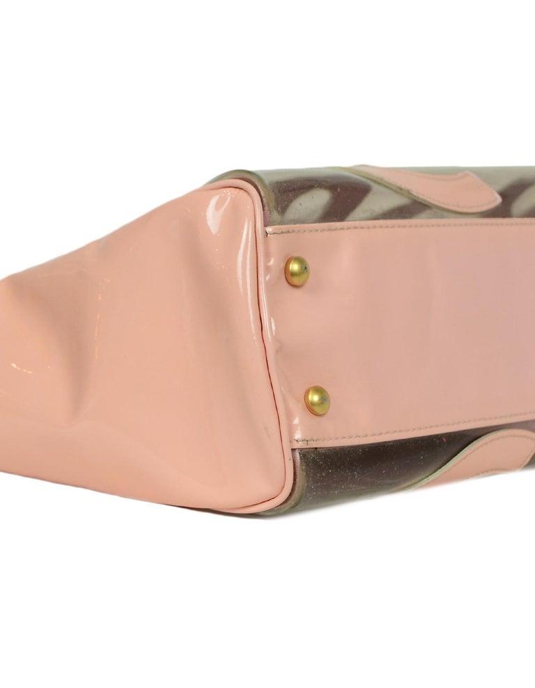Women's Chanel Pink Patent PVC CC Logo Tote Bag w/ Insert For Sale