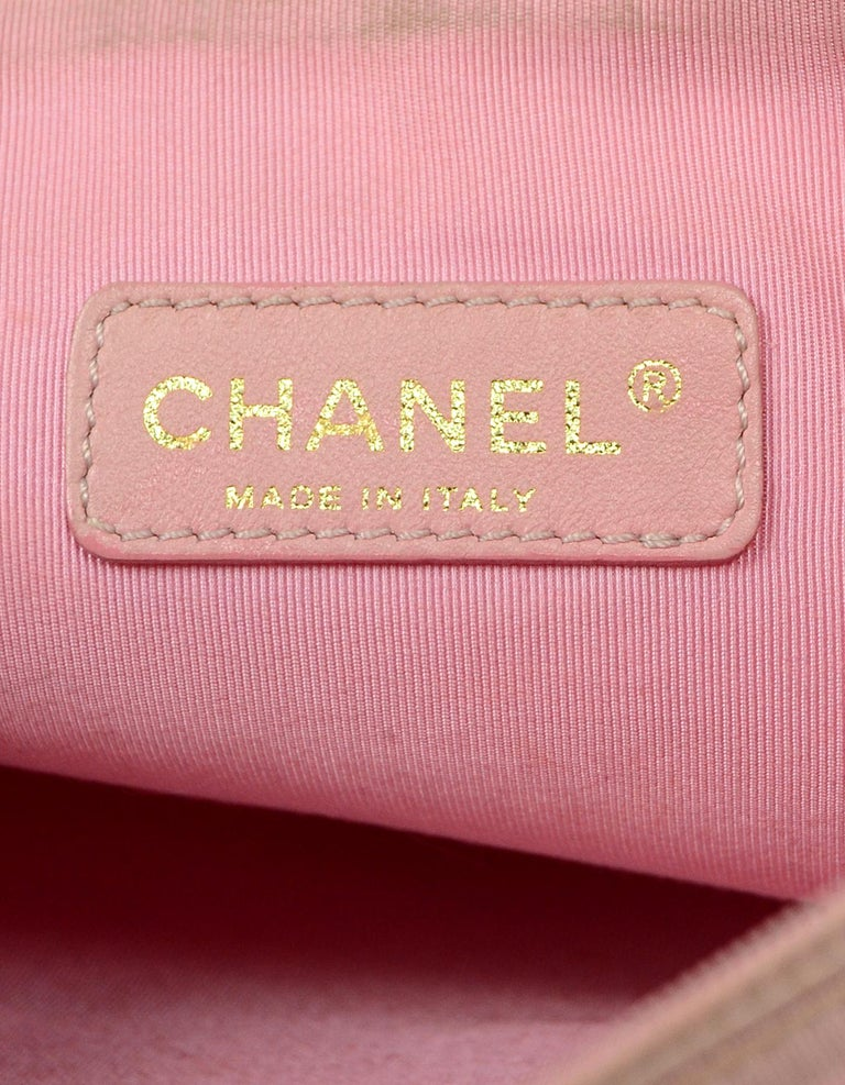 Chanel Pink Patent PVC CC Logo Tote Bag w/ Insert For Sale 5