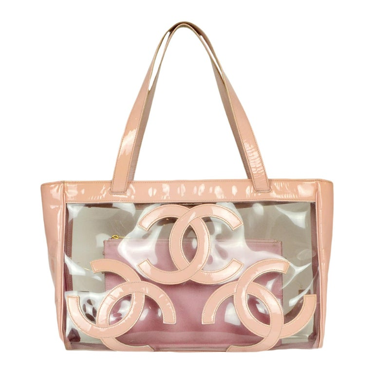 Chanel Pink Patent PVC CC Logo Tote Bag w/ Insert For Sale
