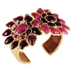 Chanel Pink Purple Gripoix Double Flower Cuff Bracelet