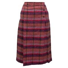 Chanel Pink & Purple Wool Plaid Skirt
