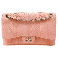 Chanel Pink Python Jumbo Double Flap Classic Bag