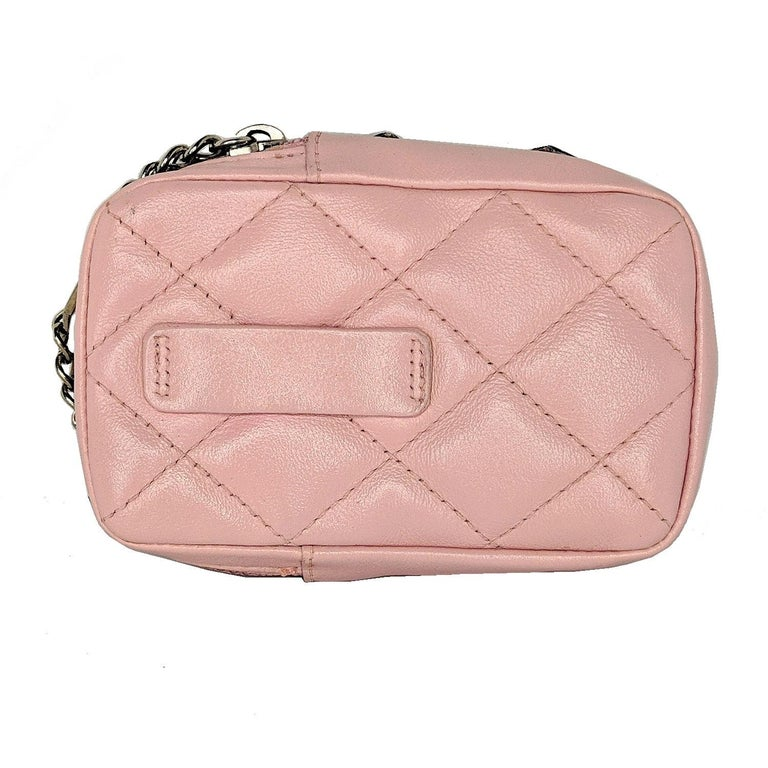 Beige Chanel Pink Quilted Calfskin Mini Ligne Cambon Pouch For Sale
