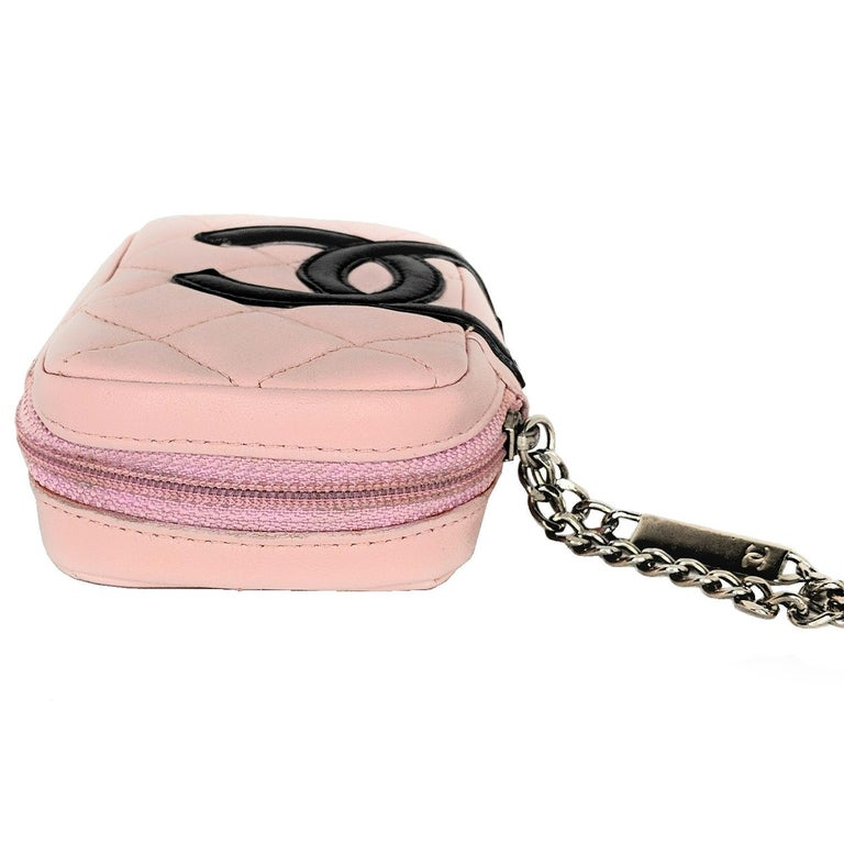 Chanel Pink Quilted Calfskin Mini Ligne Cambon Pouch In Good Condition For Sale In Scottsdale, AZ