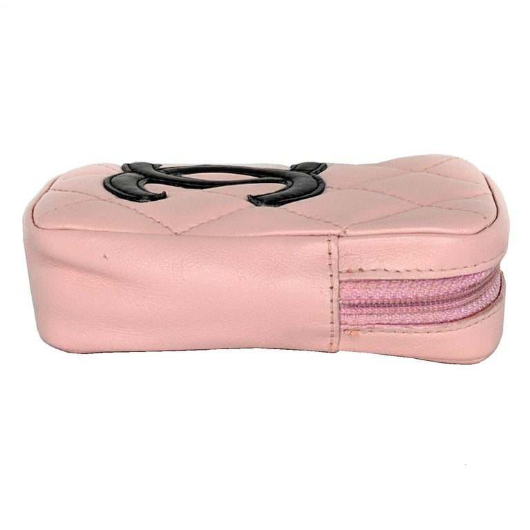 Chanel Pink Quilted Calfskin Mini Ligne Cambon Pouch For Sale 1