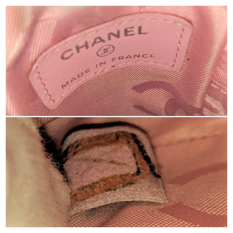 Chanel Pink Quilted Calfskin Mini Ligne Cambon Pouch For Sale 4