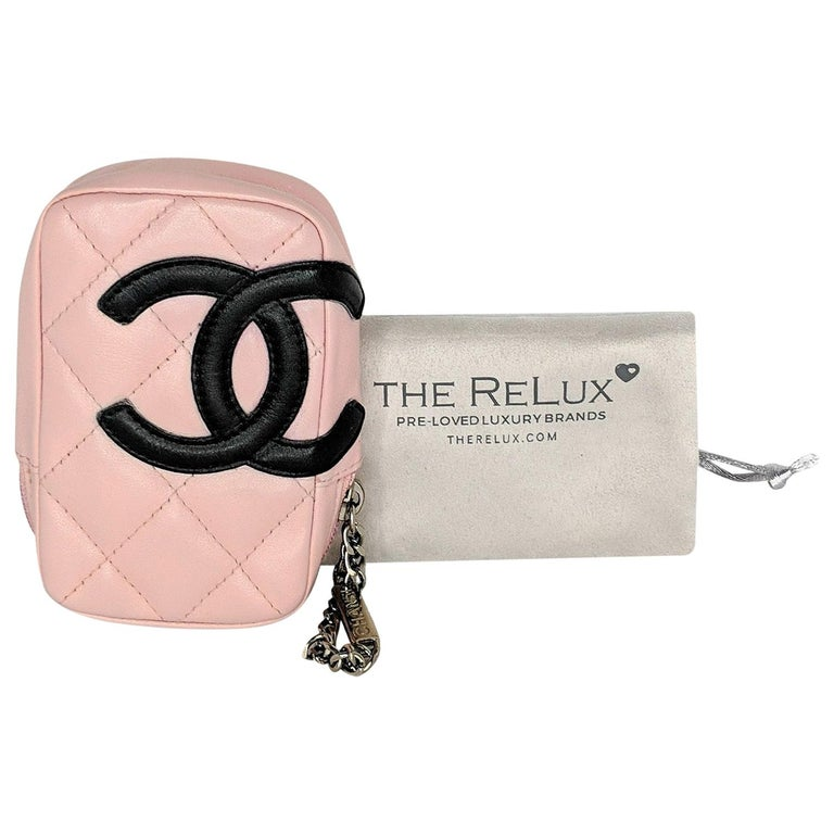 Chanel Pink Quilted Calfskin Mini Ligne Cambon Pouch For Sale