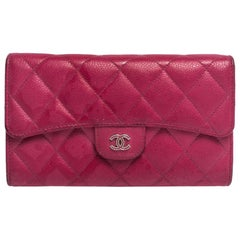 Chanel Pink Quilted Caviar Leather Classic Flap Wallet