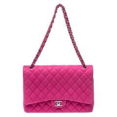 Chanel Pink Quilted Caviar Leather Maxi Classic Double Flap Bag