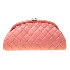 Chanel Pink Quilted Caviar Leather Timeless Clutch