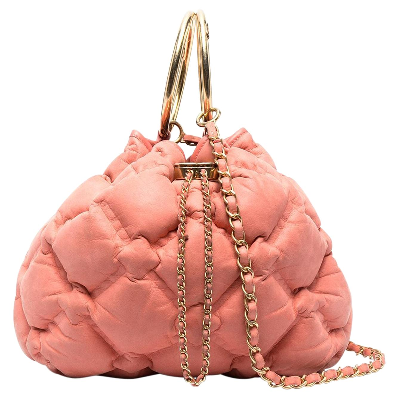 Chanel Pink Quilted Chesterfield Drawstring Bag