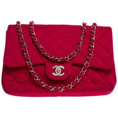 Chanel Pink Quilted Jersey Jumbo Classic Single Flap Bag