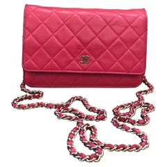 Chanel Pink Quilted Lambskin Leather Wallet on Chain WOC