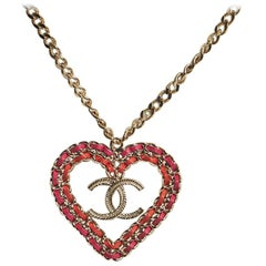 Chanel Pink Red Heart Silver Necklace