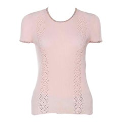 Chanel Pink Ribbed Knit Coco Cuba Short Sleeve Top M