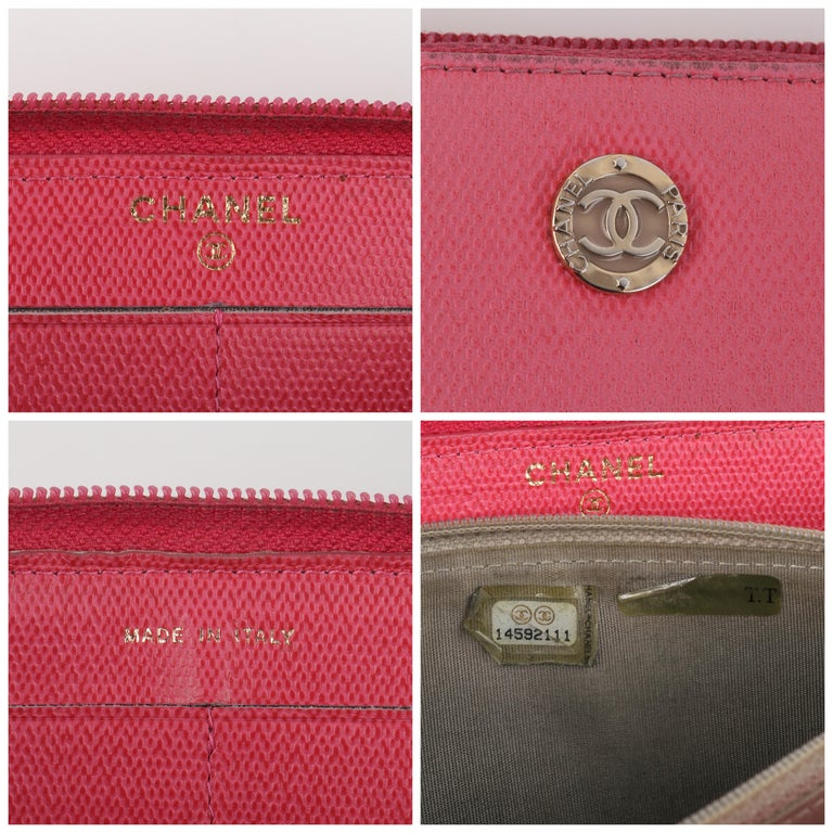 CHANEL Pink Coated Canvas CC Logo Zip Around Clutch Wallet For Sale 7