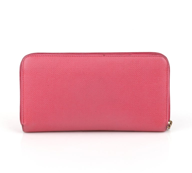 CHANEL Pink Coated Canvas CC Logo Zip Around Clutch Wallet In Good Condition For Sale In Thiensville, WI