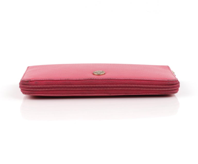 CHANEL Pink Coated Canvas CC Logo Zip Around Clutch Wallet For Sale 1
