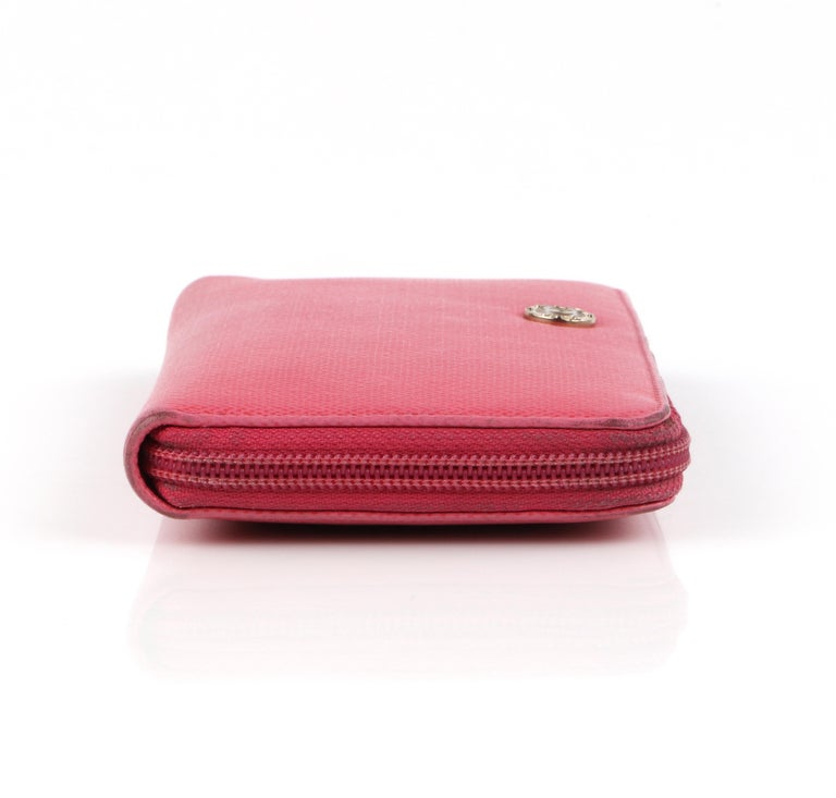CHANEL Pink Coated Canvas CC Logo Zip Around Clutch Wallet For Sale 2