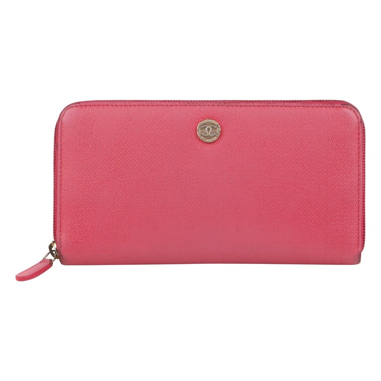 CHANEL Pink Coated Canvas CC Logo Zip Around Clutch Wallet For Sale