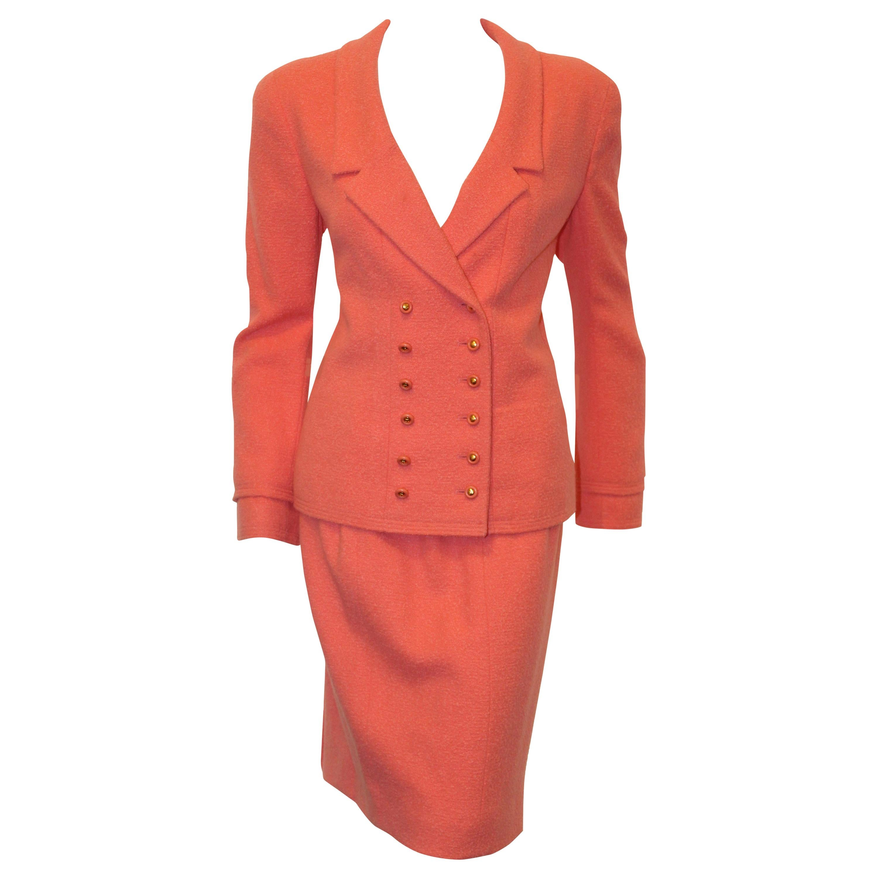 449ae492f Chanel Pink Salmon Double Breasted Notch Collar 96 Cruise Skirt Suit