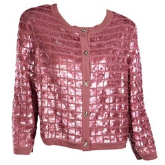 Chanel Pink Sequined Cashmere Cardigan